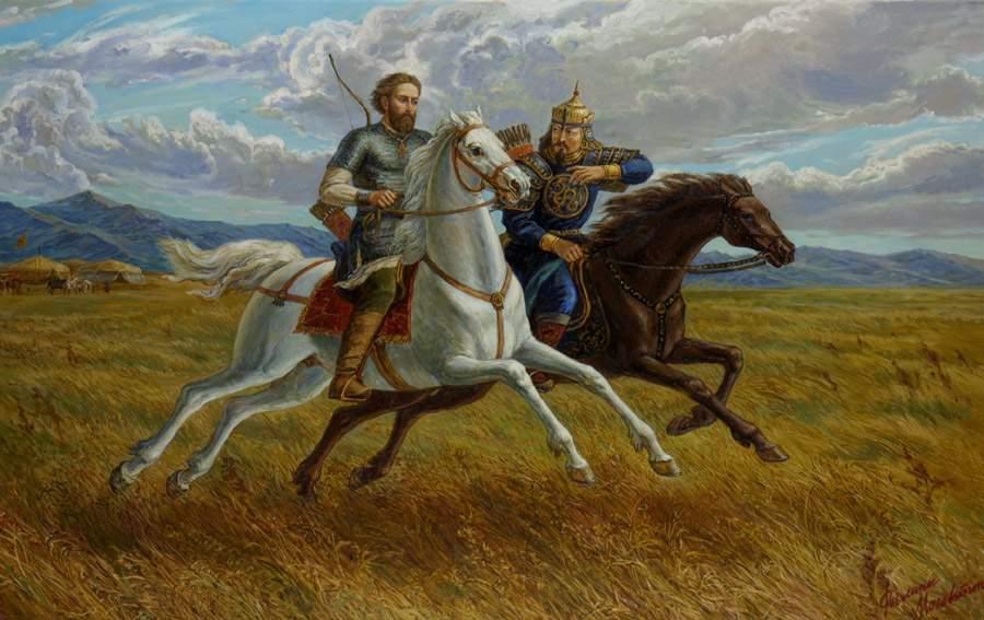 Москвитин-Филипп-Александрович-Св.князь-Александр-Невский-и-хан-Сартак-в-Орде.2002год